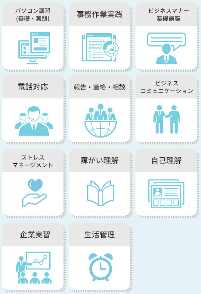 敬語講座・一般常識・パソコン講習・電話対応・時事問題・Officeソフト講座・ビジネスコミュニケーション・漢字・計算・プレゼンスキルアップ