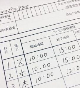 実績記録票の例
