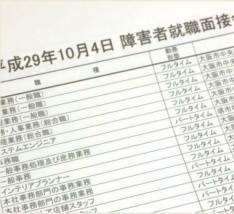 障害者面接会出社リスト